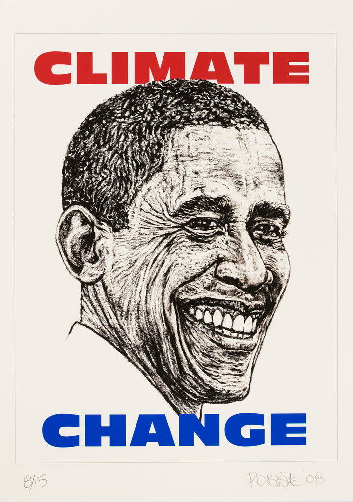 Robbie Conal – Climate Change [Obama], Signed Silkscreen, 2008