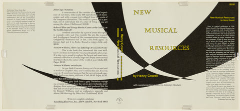 Henry Cowell's New Musical Resources - Book dust jacket, uncreased