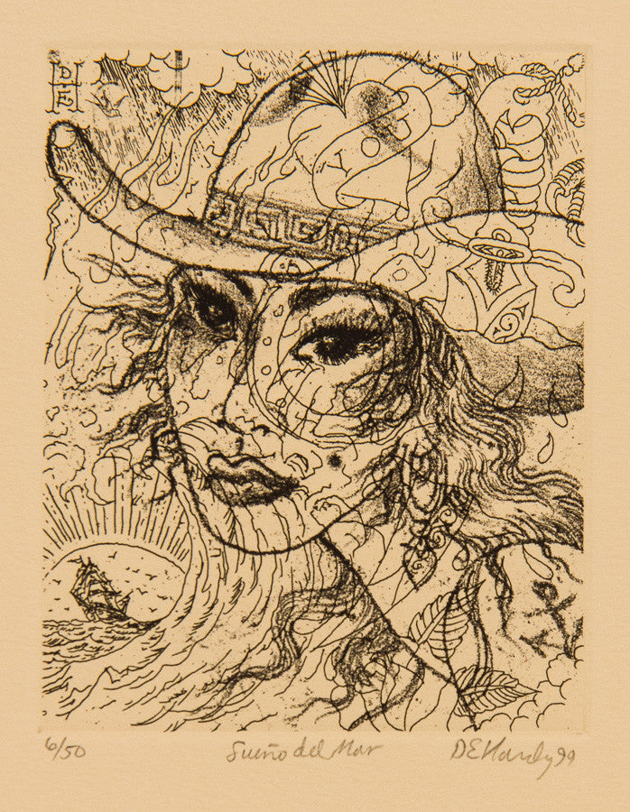 "Don Ed Hardy Limited Edition ""Sueño del Mar"" Etching, 1999"