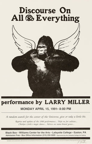 Larry Miller, Discourse on All & Everything, Performance at Lafayette College, April 15, 1991 (Poster)