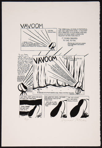 "Raymond Pettibon ""Va-voom the real"" from 1990 – Silkscreen on paper"