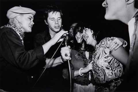 Ann Summa, Belinda Carlisle (Go Gos), John Doe (X), Tito Larriva (Plugz), Exene Cervenka (X), Margot Olivera and Jane Wiedlin (Go Gos), at Blaster Benefit Party