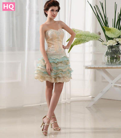 Applique Beaded Beading Sleeveless Short Mini Sweetheart