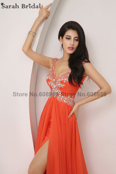 2017 In Stock Long Sexy High Slit Prom Dresses Beaded With Crystals Appliques Sequins Prom Dresses Party Gown Real Sample XU002