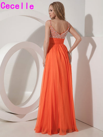 2017 Long Orange Chiffon A-line Prom Dresses Gowns With Straps For Girls Crystal Floor Length Elegant Formal Evening Party Dress 1 2