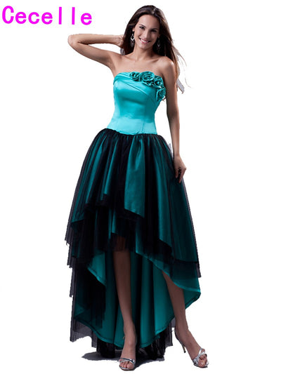 2017 New High Low Turquoise Black Prom Dresses Strapless Short Front Long Back Satin Tulle Girls Evening Prom Gowns Custom Made 1