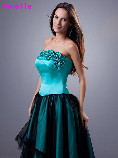 2017 New High Low Turquoise Black Prom Dresses Strapless Short Front Long Back Satin Tulle Girls Evening Prom Gowns Custom Made