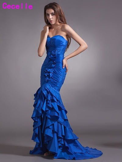 2017 New Real Mermaid Long Royal Blue Prom Dresses Sweetheart Pleats Sweep Train Women Evening Prom Dress vestido de festa