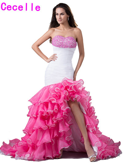 2017 Real New Mermaid High Low Prom Dresses Sweetheart Beaded Tiered Organza Short Front Long Back Formal Prom Gowns Custom 1 2
