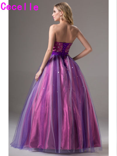2017 Simple Purple Long Ball Gown Prom Dresses Two Tones Floor Length Strapless Beaded Princess Senior Teens Formal Prom Gown 1