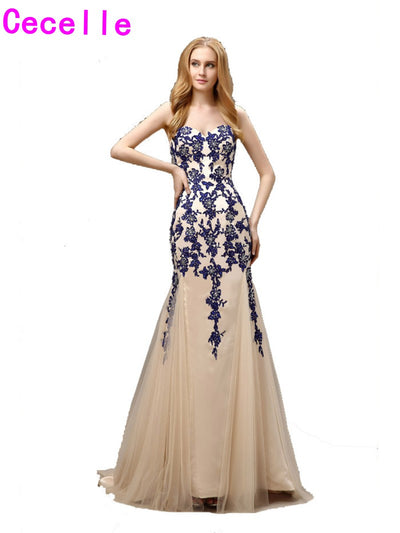 2017 Vestido De Festa Long Mermaid Royal Blue Prom Dresses Champagne Two Tones Sweetheart Appliques Tulle Evening Prom Gown 1 2