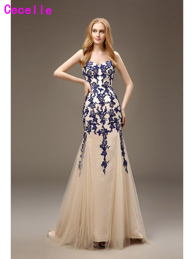 2017 Vestido De Festa Long Mermaid Royal Blue Prom Dresses Champagne Two Tones Sweetheart Appliques Tulle Evening Prom Gown