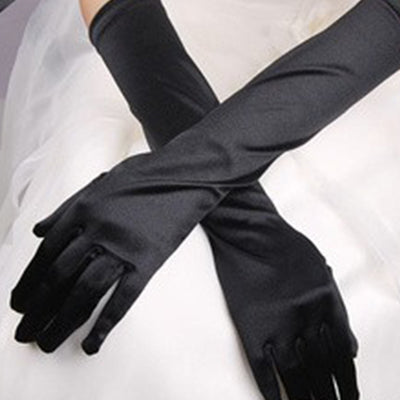2017 Women Chic Long Gloves Stretch Halloween Satin Gloves Evening Party Prom Gloves New