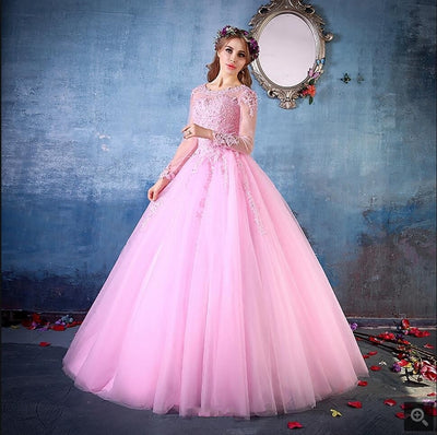 2017 gorgeous ball gown lace appliques pink prom dresses long sleeve sheer back sexy prom gowns best selling