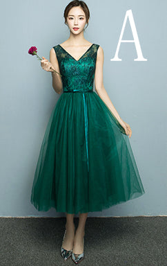 2017 new arrival deep green pageant gown sexy women sleeved tea length party tulle prom dress puffy dresses under $100 H4110
