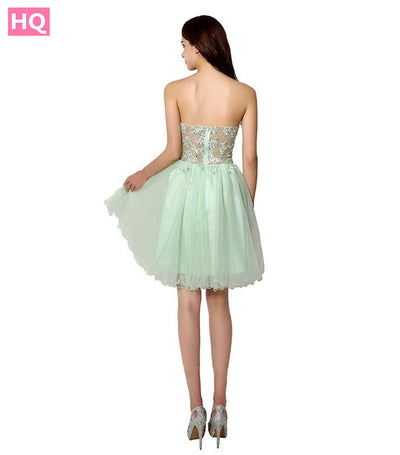 Fashionable Mint Appliques Sweetheart Tulle Prom Dresses