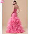 Peach Mermaid Prom Dresses Long Sweetheart Beaded Pleats