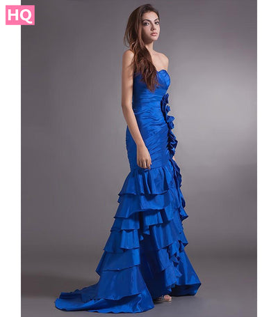 New Real Mermaid Long Royal Blue Prom Dresses Sweetheart Pleats Sweep