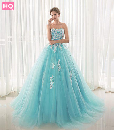 Blue Prom dresses Long with Appliques Beaded
