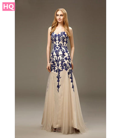 Long Mermaid Royal Blue Prom Dresses Champagne Two Tones Sweetheart Appliques Tulle