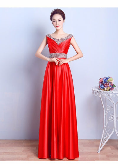 New Fashion Woman Prom Dresses Long Sequnied Satin