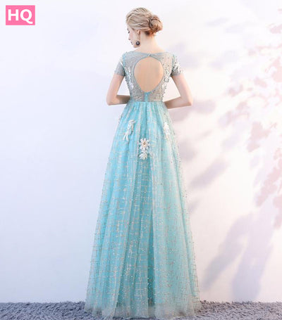 O-Neck Beads Bodice Open Back A Line Long Evening Dress