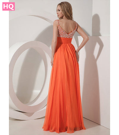 Long Orange Chiffon A-line Prom Dresses Gowns With Straps For Girls Crystal