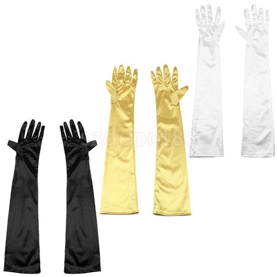 "3 Pairs Below the Elbow Gloves 22"" Long Satin Stretch for Evening, Prom White Black Gold"
