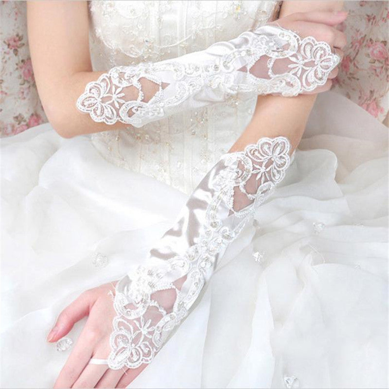 6 Colors Gloves Fingerless Satin Party Prom Bride Gloves For Women 2017 New Fashion Female Long Gloves
