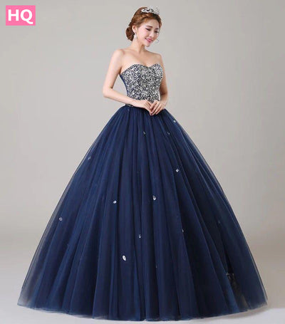 ANGEL NOVIAS Long Ball Gown Puffy Plus Size Navy Blue Crystal