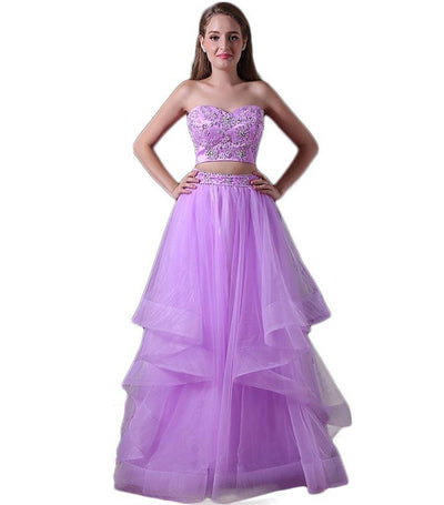 A-line Sweetheart Tulle Appliques Beaded Two Pieces Long