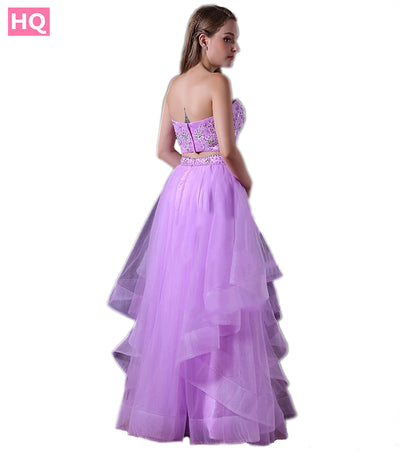 A Line Sweetheart Tulle Two Piece Prom Dress with Beaded Lace Appliques Crop Top