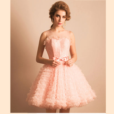 Abendkleider Light Pink Prom Dresses Real Photo Sleeveless Short Prom Dresses 2017 Hot Sale Vestido Curto O-Neck Prom Dress