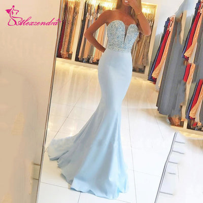 Alexzendra Mermaid Long Blue Prom Dresses Sweetheart Beaded Evening Party Dresses  Customized