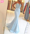 Alexzendra Mermaid Long Blue Prom Dresses Sweetheart Beaded
