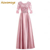 Aswomoye Half Sleeve Evening Dress 2018 Appliques A-Line Prom Dresses Party Dress of the day Floor Length robe de soiree