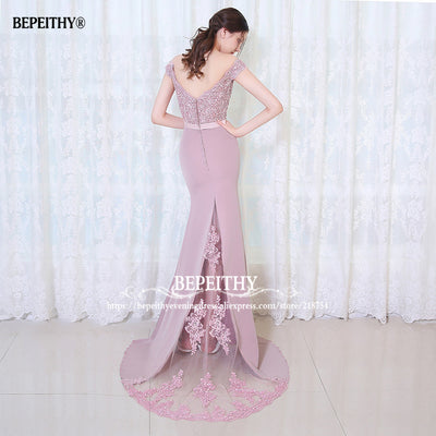BEPEITHY Robe De Soiree Mermaid Burgundry Long Evening Dress Party Elegant Vestido De Festa Long Prom Gown 2017 With Belt