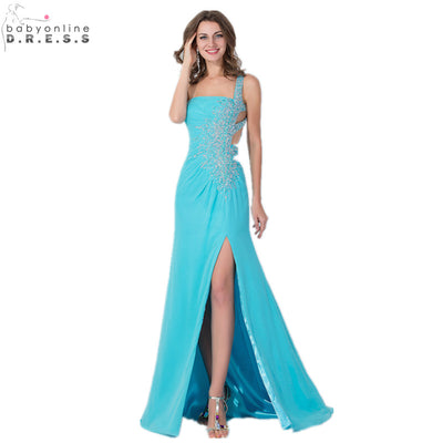 Babyonline A-line Crystal Chiffon Prom Dresses 2018 Sexy One-shoulder Formal Prom Party Dresses Evening Gowns vestido de festa 1