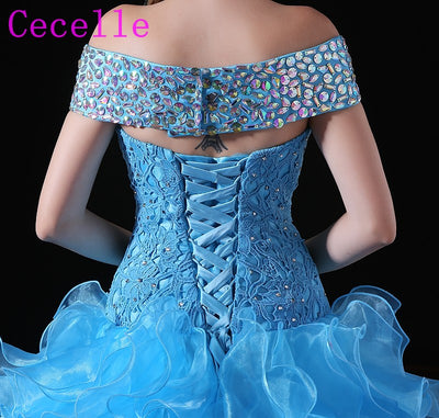 Blue Ball Gown Princes Prom Dress Off the Shoulder Beading Ruffles Skirt Girls Sweet 16 Party Dresses Corset Back Custom Made