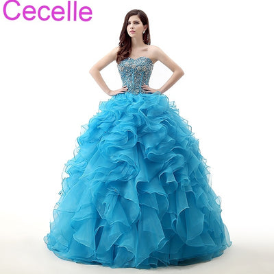 Blue Ball Gown Prom Dresses 2018 Sweetheart Ruffles Skirt Beading Top Corset Back Girls Formal Princess Sweet 16 Dresses Gowns
