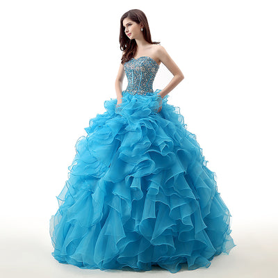 Blue Ball Gown Prom Dresses 2018 Sweetheart Ruffles Skirt Beading Top Corset Back Girls Formal Princess Sweet 16 Dresses Gowns 1 2