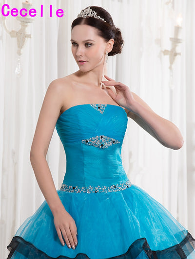 Blue Black Two Toned Floor Length Ball Gown Prom Dresses Seniors Strapless Beaded Ruched Organza Princess Corset Prom Gowns Real