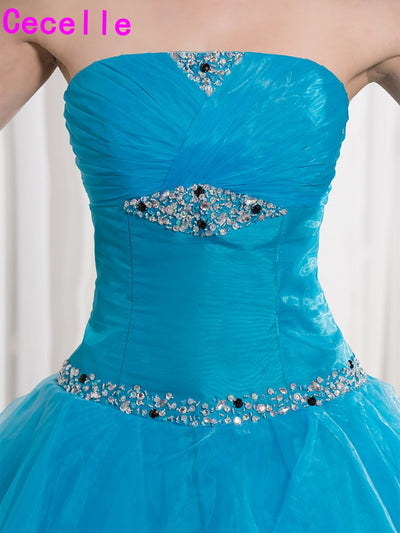 Blue Black Two Toned Floor Length Ball Gown Prom Dresses Seniors Strapless Beaded Ruched Organza Princess Corset Prom Gowns Real 1