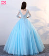 Blue Ball Gown Long Prom Dresses Elegant V Neck Long Sleeve 3D Floral Flower