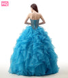 Blue Ball Gown Prom Dresses 2018 Sweetheart Ruffles Skirt Beading Top Corset Back