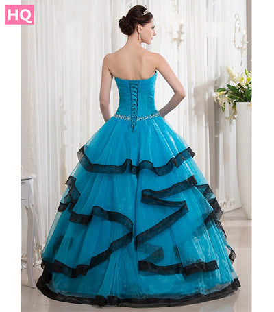 Blue Black Two Toned Floor Length Ball Gown