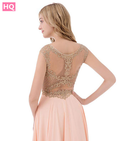 Beaded O Neck Sheer Back Embroidery Chiffon A Line