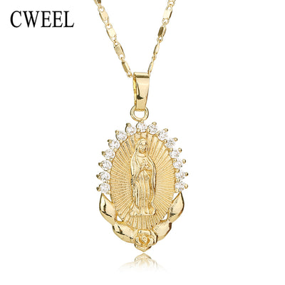 CWEEL Necklace For Women Men Statement Vintage Jesus Pendant Holiday Christian African Beads Gold Color Accessories Party Gift