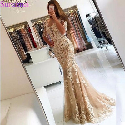 Champagne Lace Tulle Mermaid Half Sleeves Sexy Backless Prom Dress Illusion Sheer Scoop Evening Dress Gown Evening Dresses 2018 1