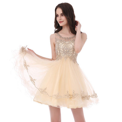 Charming Ever Pretty Short Prom Dresses 2017 With Jewel Sleeveless Tulle Beading Zipper